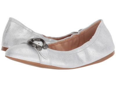 Coach - Coach Women Silver Glitter Dusted Suede Stanton Ballet With Signature Buckle Flats