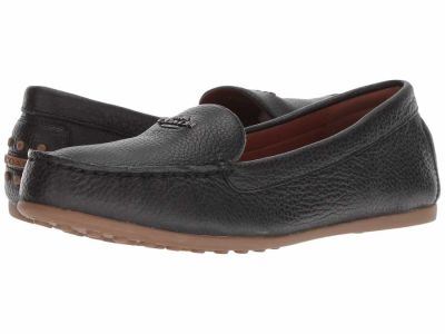Coach - COACH Women's Black Leather Lock Up Driver Loafers
