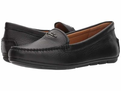 Coach - COACH Women's Black Leather Mary Lock Up Driver Loafers
