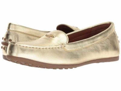 Coach - COACH Women's Gold Metallic Leather Lock Up Driver Loafers