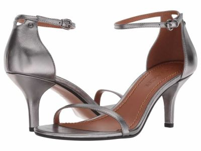 Coach - COACH Women's Gunmetal Metallic Leather Heeled Sandal Heeled Sandals