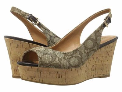 Coach - COACH Women's Khaki/Chestnut Ferry Wedge Heels