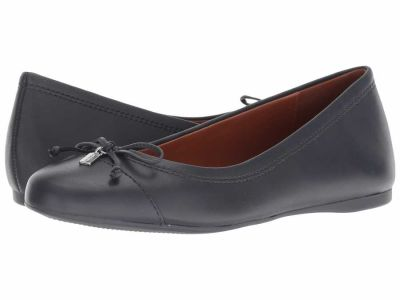 Coach - COACH Women's Midnight Navy Leather String-Tie Ballet Flats
