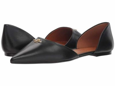 Coach - COACH Womens's Black Leather Pointy Toe Flat Flats
