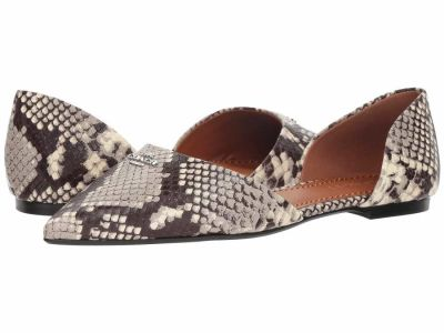 Coach - COACH Womens's Natural Printed Exotic Pointy Toe Flat Flats