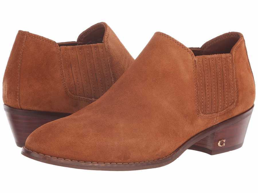 COACH Womens's Saddle Suede Ankle Bootie Ankle Boots Booties