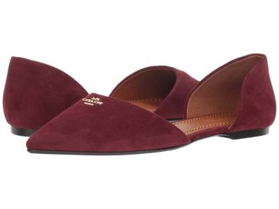 Coach - COACH Womens's Wine Suede Pointy Toe Flat Flats