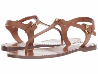 Coach - COACH Women's Saddle Leather T-Strap Sandal Flat Sandals