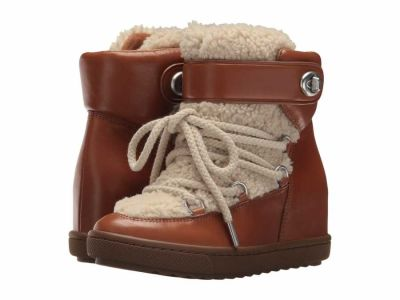 Coach - COACH Women's Saddle/Natural Shearling Calf/Shearling Monroe Ankle Boots Booties