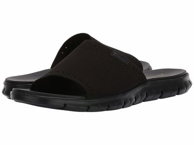 Cole Haan - Cole Haan Men Black Knit Black Zerogrand Stitchlite Slide Flat Sandals