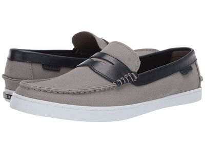 Cole Haan - Cole Haan Men Gray Canvas/Blue Leather Nantucket Loafer Loafers