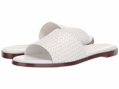 Cole Haan - Cole Haan Women İvory Leather Analise Weave Sandal Flat Sandals