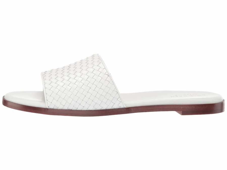 Cole Haan Women İvory Leather Analise Weave Sandal Flat Sandals