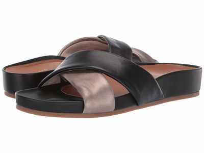 Cole Haan - Cole Haan Women Light Bronze Metallic Leather/Black Leather Arielle Sandal Flat Sandals
