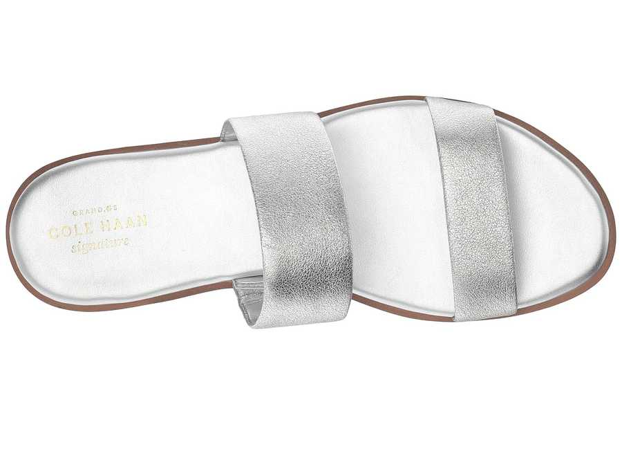Cole Haan Women Silver Leather Findra Sandal İi Heeled Sandals