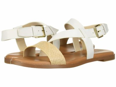 Cole Haan - Cole Haan Women White Leather/Nude Woven Findra Strappy Sandal Flat Sandals
