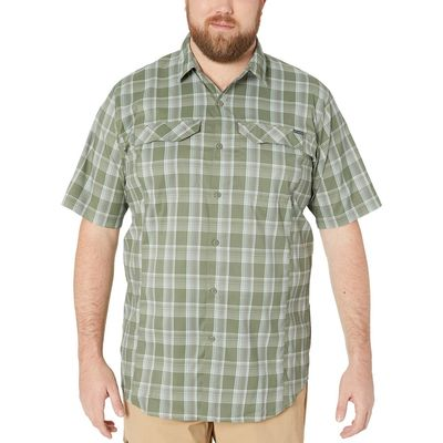 Columbia - Columbia Cypress Buff Check Big And Tall Silver Ridge Lite Plaid Short Sleeve Shirt