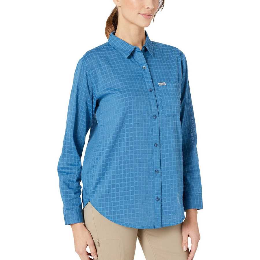 Columbia Impulse Blue Windowpane Pfg Sun Drifter™ Iı Long Sleeve Shirt