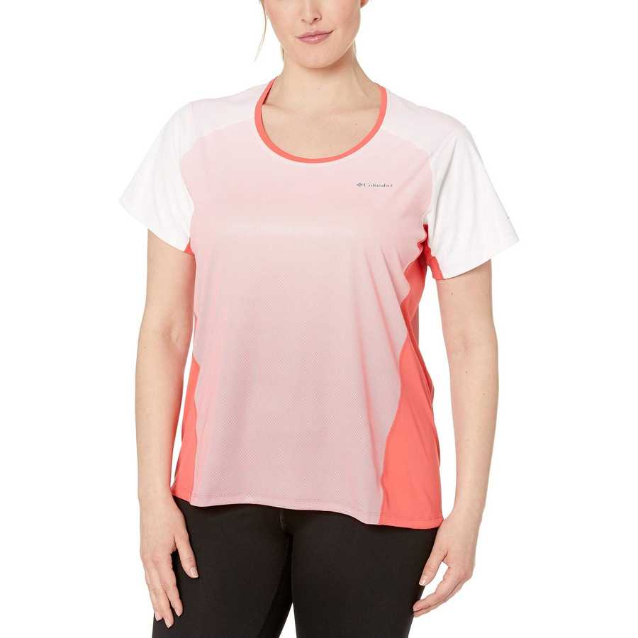 Columbia Red Coral Plus Size Solar Chill™ 2.0 Short Sleeve Shirt