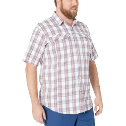 Columbia Sunset Red Buff Check Big And Tall Silver Ridge Lite Plaid Short Sleeve Shirt - Thumbnail