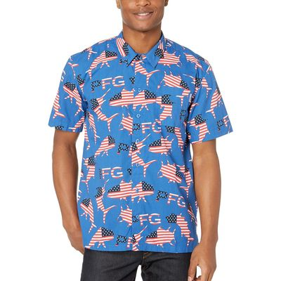 Columbia - Columbia Vivid Blue Merica Fish Flags Trollers Best™ S/S Shirt