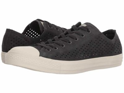 Converse - Converse Men's Almost Black Almost Black Driftwood Chuck Taylor All Star Ox - Perf Suede Lifestyle Sneakers