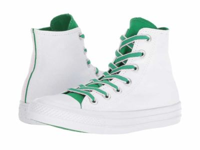 Converse - Converse Men's White Green Cherry Blossom Chuck Taylor All Star Hi - Court Prep Block Lifestyle Sneakers