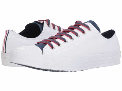 Converse - Converse Men's White Navy Gym Red Chuck Taylor All Star Ox - Court Prep Block Lifestyle Sneakers