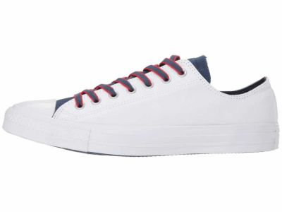 Converse Men's White Navy Gym Red Chuck Taylor All Star Ox Court Prep Block Lifestyle Sneakers