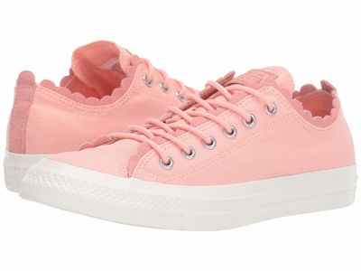 Converse - Converse Women Bleached Coral/Bleached Coral/Egret Chuck Taylor All Star Frilly Thrills Canvas - Ox Lifestyle Sneakers
