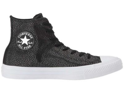 Converse - Converse Women's Black/Silver/White Chuck Taylor All Star Tipped Metallic Hi Sneakers Athletic Shoes 89894256748