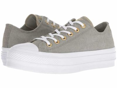 Converse - Converse Women's Dark Stucco/Driftwood/White Chuck Taylor All Star Lift - Washed Linen Lifestyle Sneakers