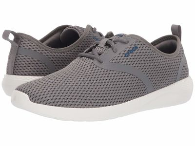 Crocs - Crocs Men Smoke/White Literide Mesh Lace Lifestyle Sneakers