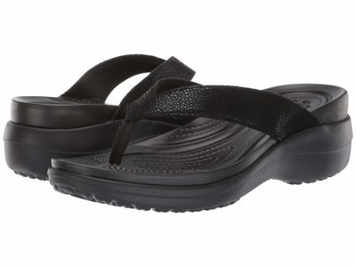 Crocs - Crocs Women Black/Black Capri Metallic Text Wedge Flip Heeled Sandals