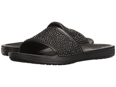 Crocs - Crocs Women Black/Black Sloane Embellished Slide Active Sandals