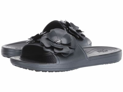 Crocs - Crocs Women Black/Black Sloane Vivid Blooms Slide Flat Sandals