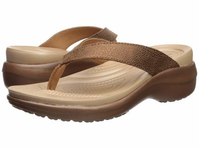 Crocs - Crocs Women Bronze/Bronze Capri Metallic Text Wedge Flip Heeled Sandals