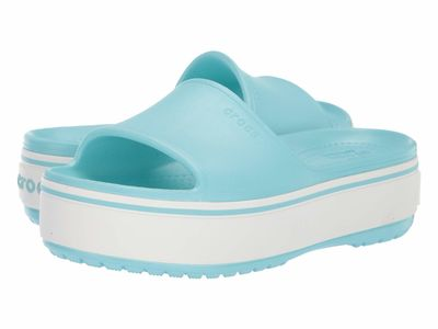 Crocs - Crocs Women İce Blue/İce Blue Crocband Platform Slide Flat Sandals