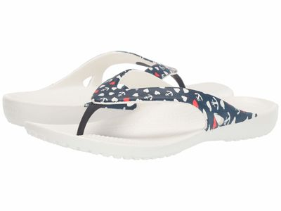 Crocs - Crocs Women Nautical/White Kadee İi Anchor Print Flip Flip Flops