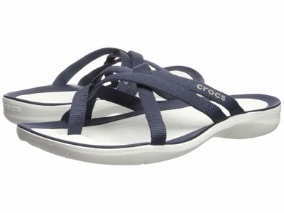 Crocs - Crocs Women Navy/White Swiftwater Webbing Flip Flat Sandals