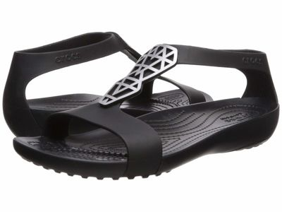Crocs - Crocs Women Silver/Black Serena Embellish Sandal Flat Sandals