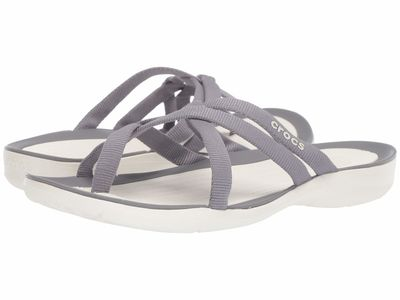 Crocs - Crocs Women Smoke/Oyster Swiftwater Webbing Flip Flat Sandals