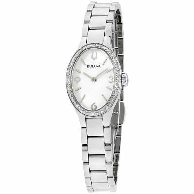 Bulova - Diamonds Stainless Steel Case and Bracelet White Tone Dial