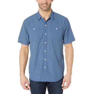 Dockers - Dockers Sargent Ocean/Blue Stripe Short Sleeve Seersucker Shirt