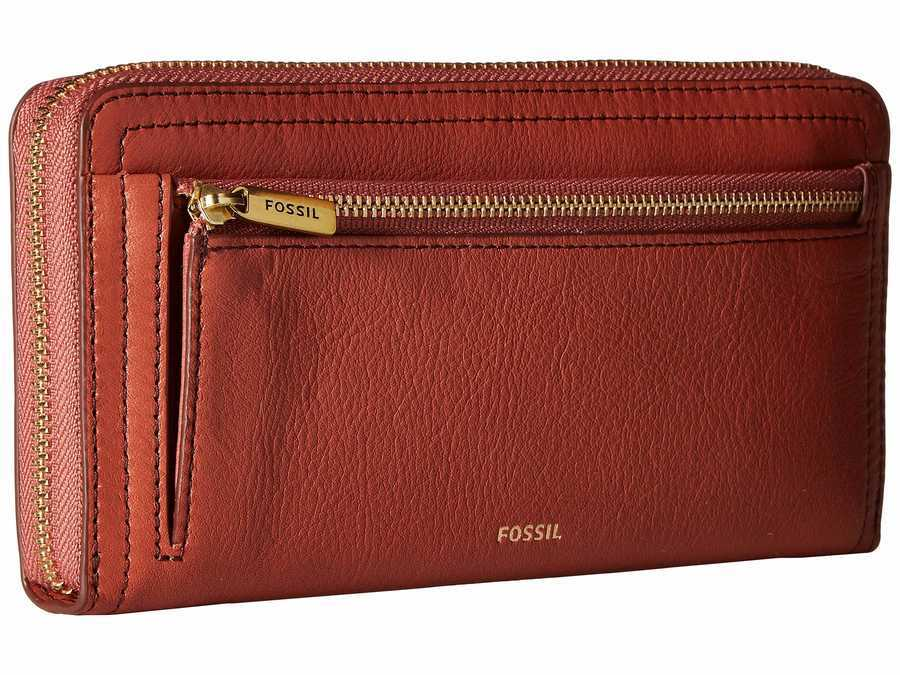 Fossil Baked Clay Rfid Logan Zip Checkbook Wallet