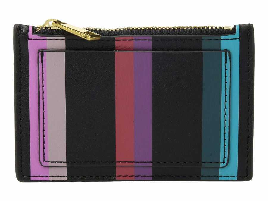 Fossil Blue Multi Stripe Shelby Zip Coin Coin Card Case