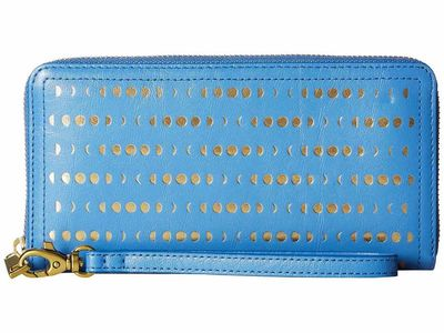 Fossil - Fossil Crystal Blue Logan Zip Around Clutch Clutch Bag