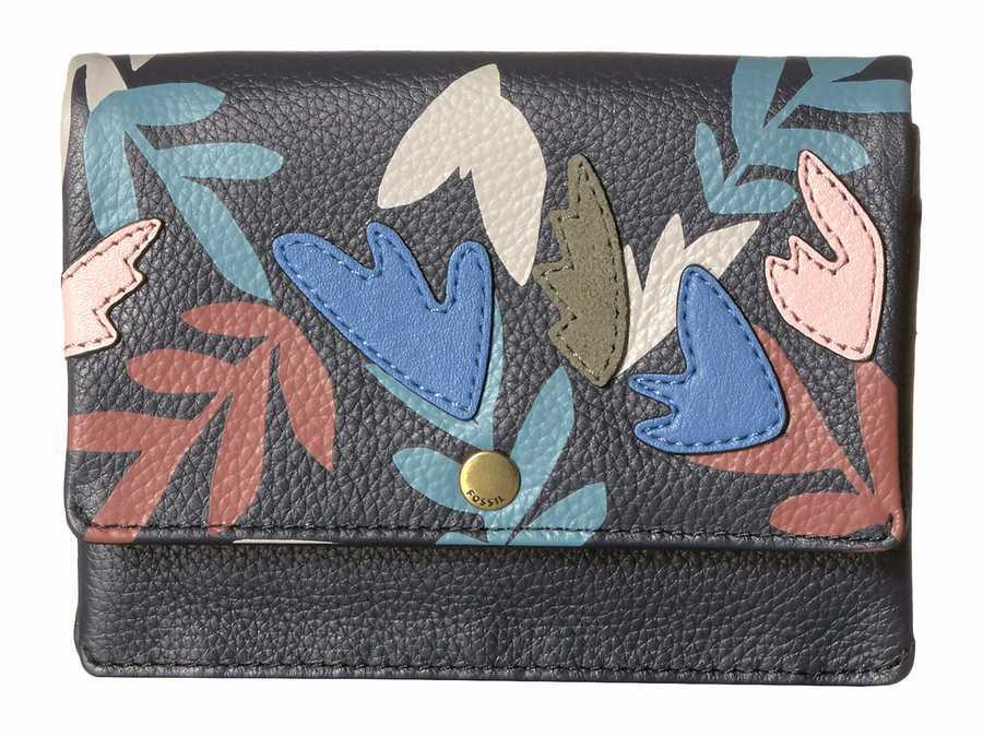 Fossil Navy Floral Aubrey Multifunction Coin Card Case