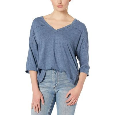 Free People - Free People Blue Quarter Back Tee