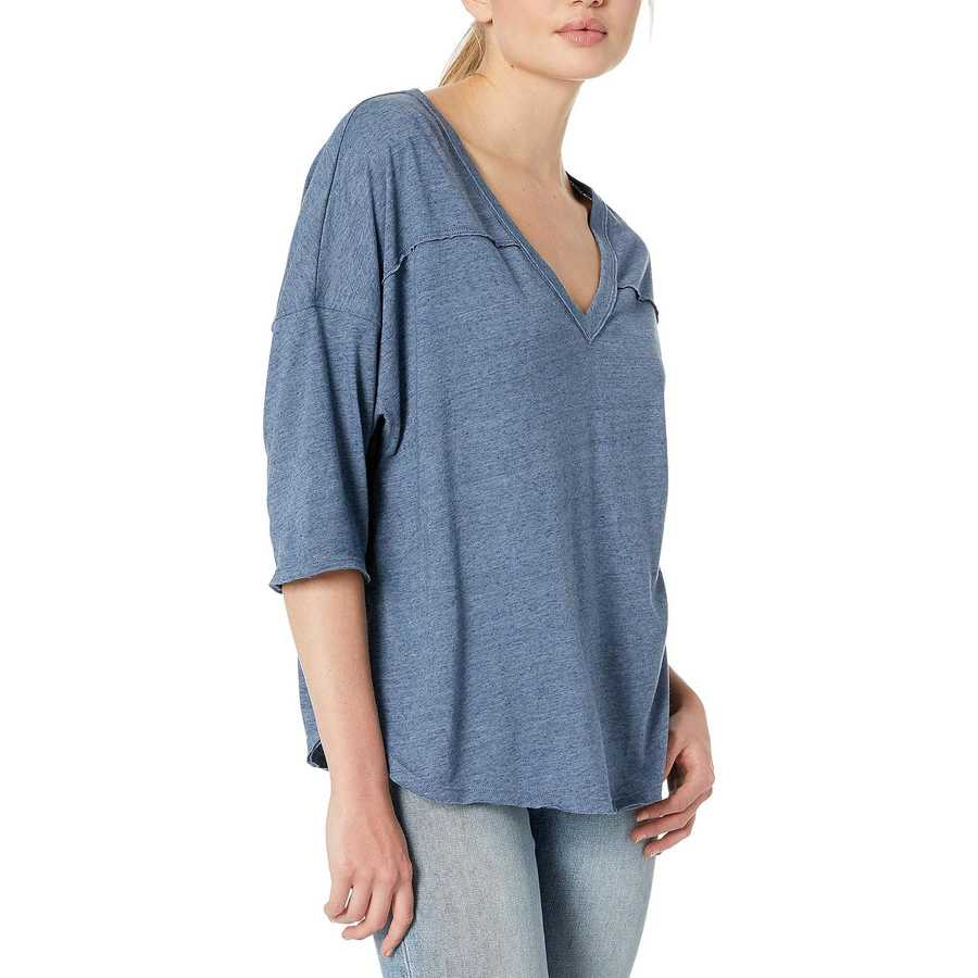 Free People Blue Quarter Back Tee